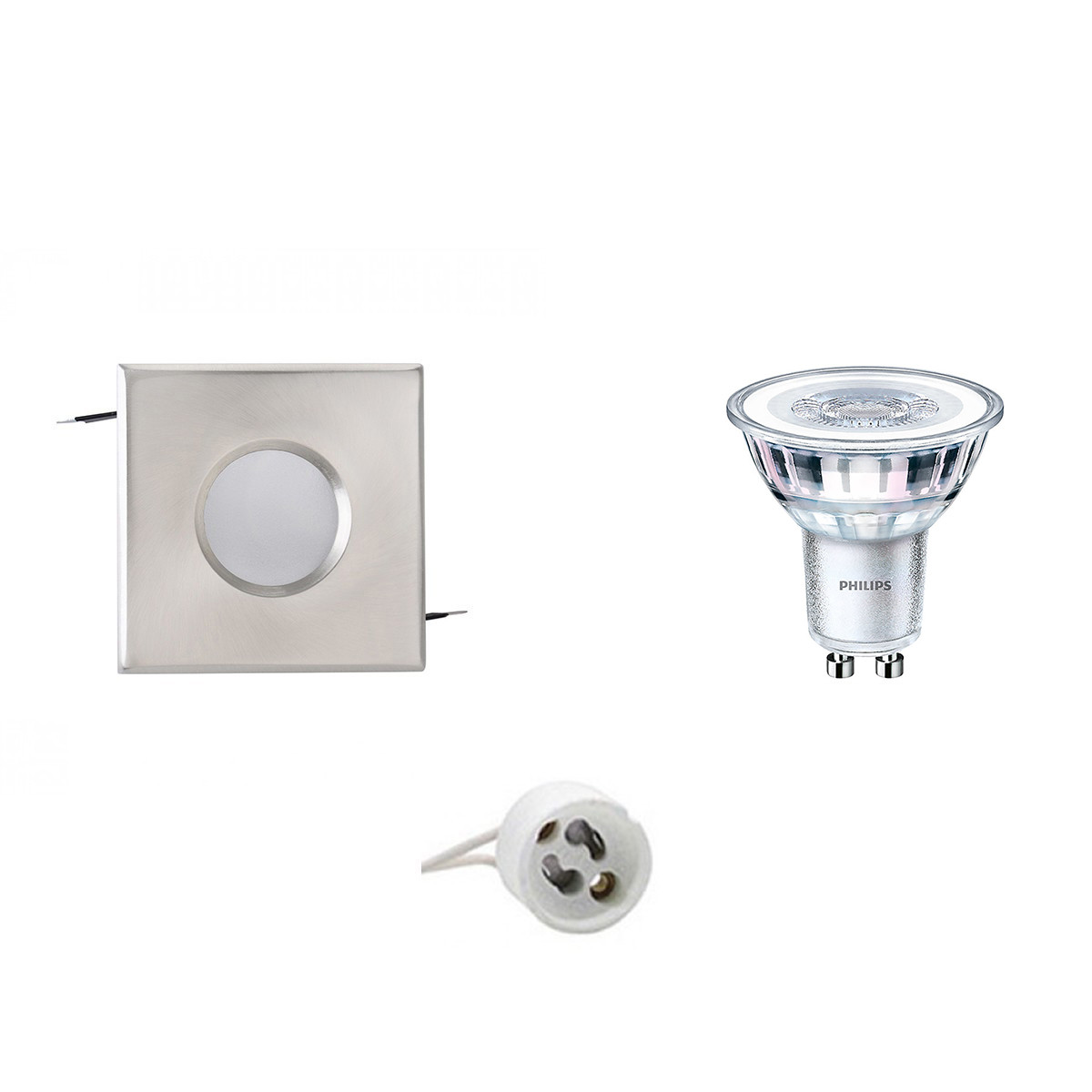 PHILIPS - LED Spot Set - CorePro 840 36D - GU10 Fitting - Waterdicht IP65 - Dimbaar - Inbouw Vierkan