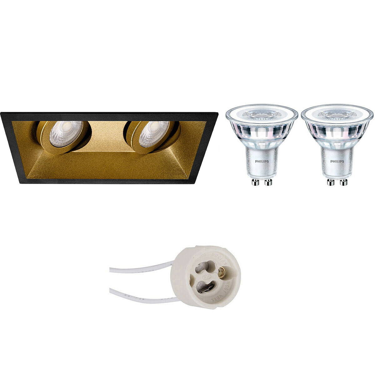 PHILIPS - LED Spot Set - CorePro 827 36D - Pragmi Zano Pro - GU10 Fitting - Dimbaar - Inbouw Rechtho