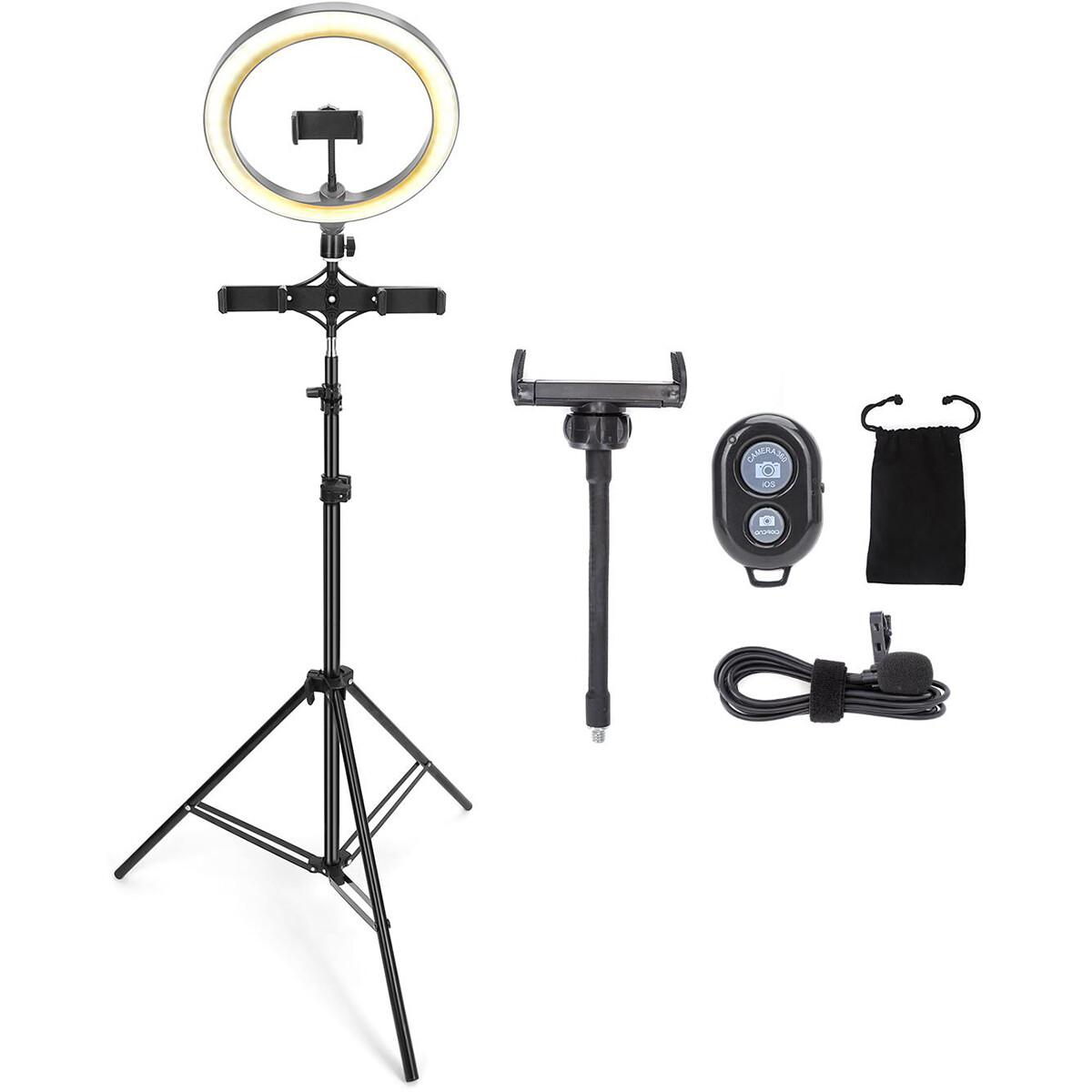 Ringlamp met Statief - Aigi Rongy - Bluetooth - Microfoon - Afstandsbediening - Dimbaar - CCT Aanpas