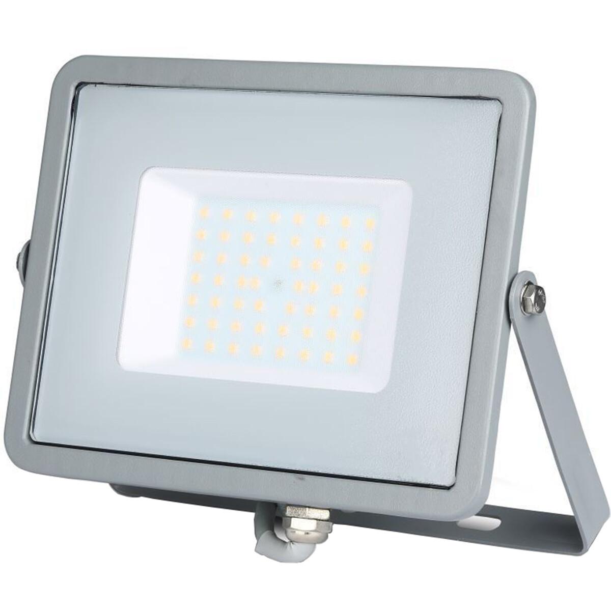 SAMSUNG - LED Bouwlamp 50 Watt - LED Schijnwerper - Viron Dana - Warm Wit 3000K - Mat Grijs - Alumin