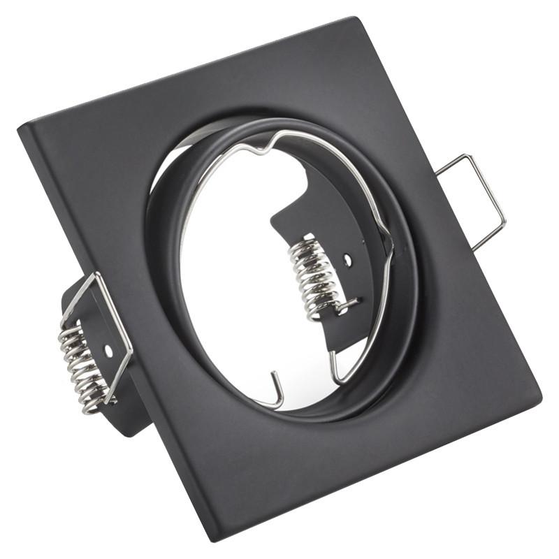 Spot Armatuur GU10 - Trion - Inbouw Vierkant - Mat Zwart Aluminium - Kantelbaar 80mm
