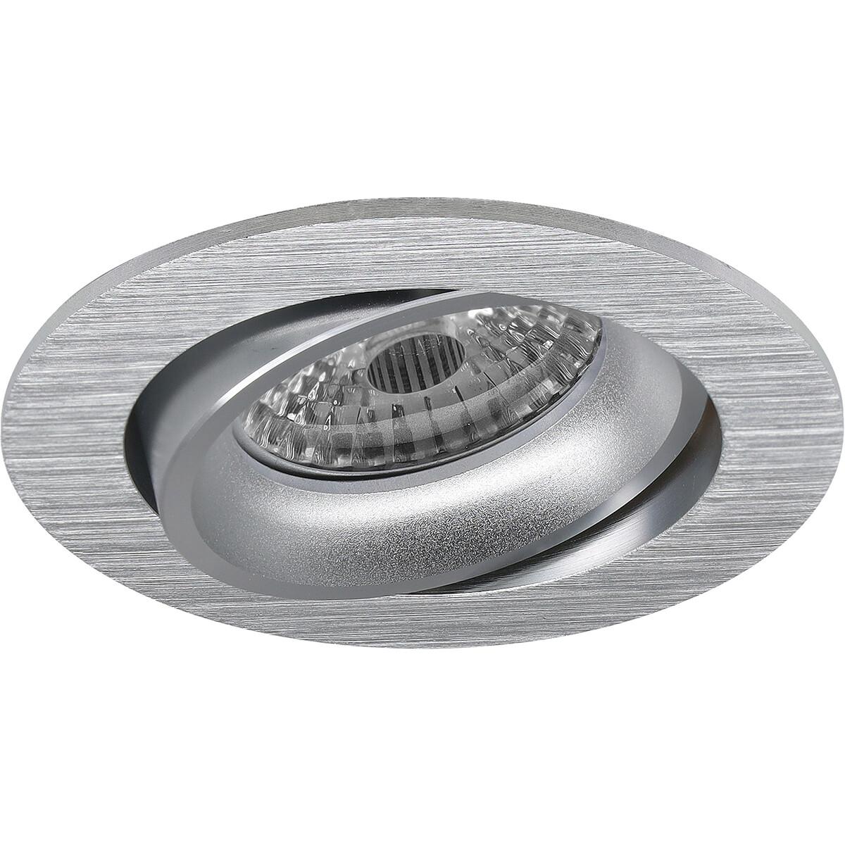 Spot Armatuur GU10 - Pragmi Delton Pro - Inbouw Rond - Mat Zilver - Aluminium - Kantelbaar - Ø82mm