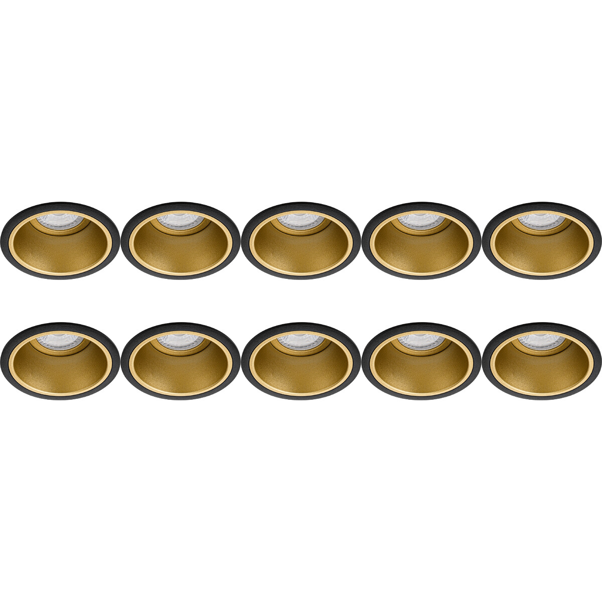 Spot Armatuur 10 Pack - Pragmi Minko Pro - GU10 Fitting - Inbouw Rond - Mat Zwart/Goud - Aluminium -
