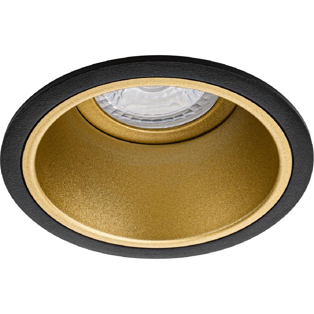 Spot Armatuur GU10 - Pragmi Minko Pro - Inbouw Rond - Mat Zwart/Goud - Aluminium - Verdiept - Ø90mm