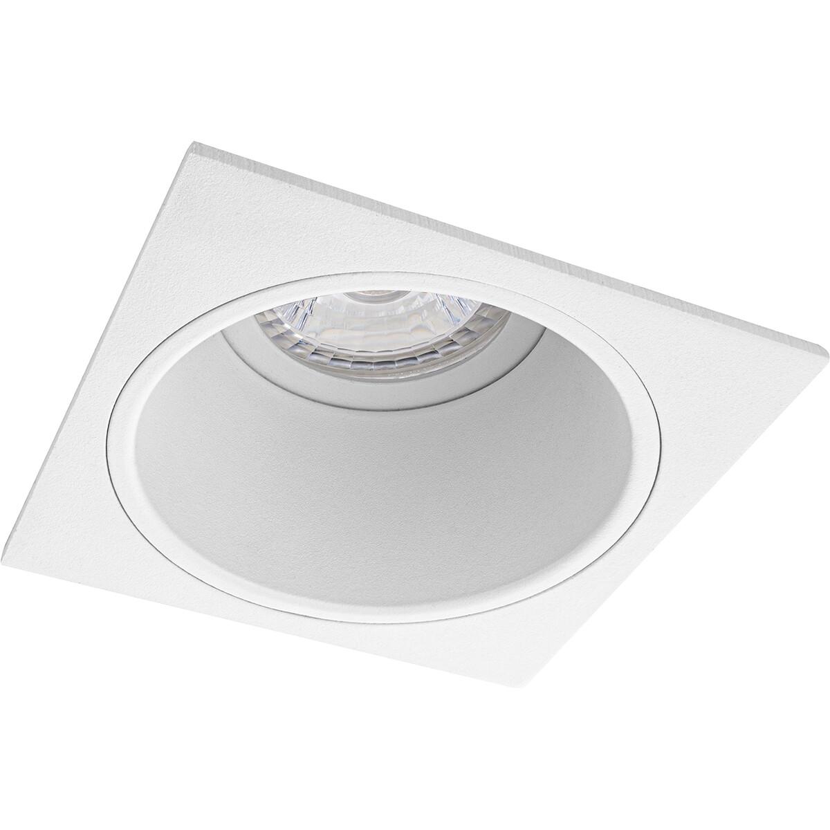 Spot Armatuur GU10 - Pragmi Minko Pro - Inbouw Vierkant - Mat Wit - Aluminium - Verdiept - 90mm