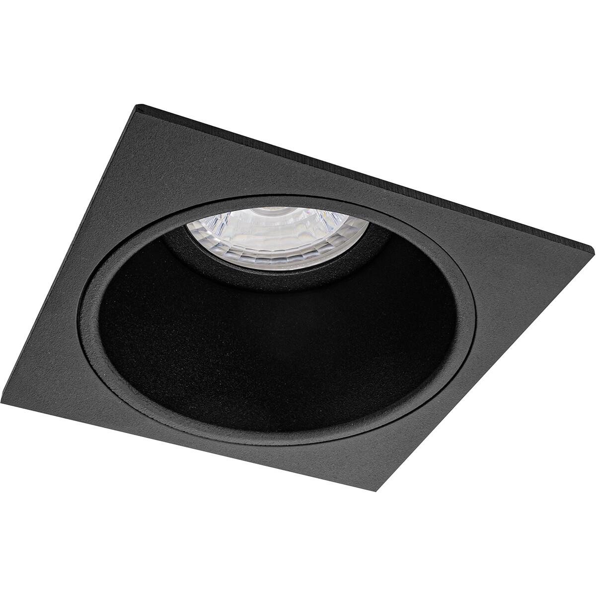 Spot Armatuur GU10 - Pragmi Minko Pro - Inbouw Vierkant - Mat Zwart - Aluminium - Verdiept - 90mm