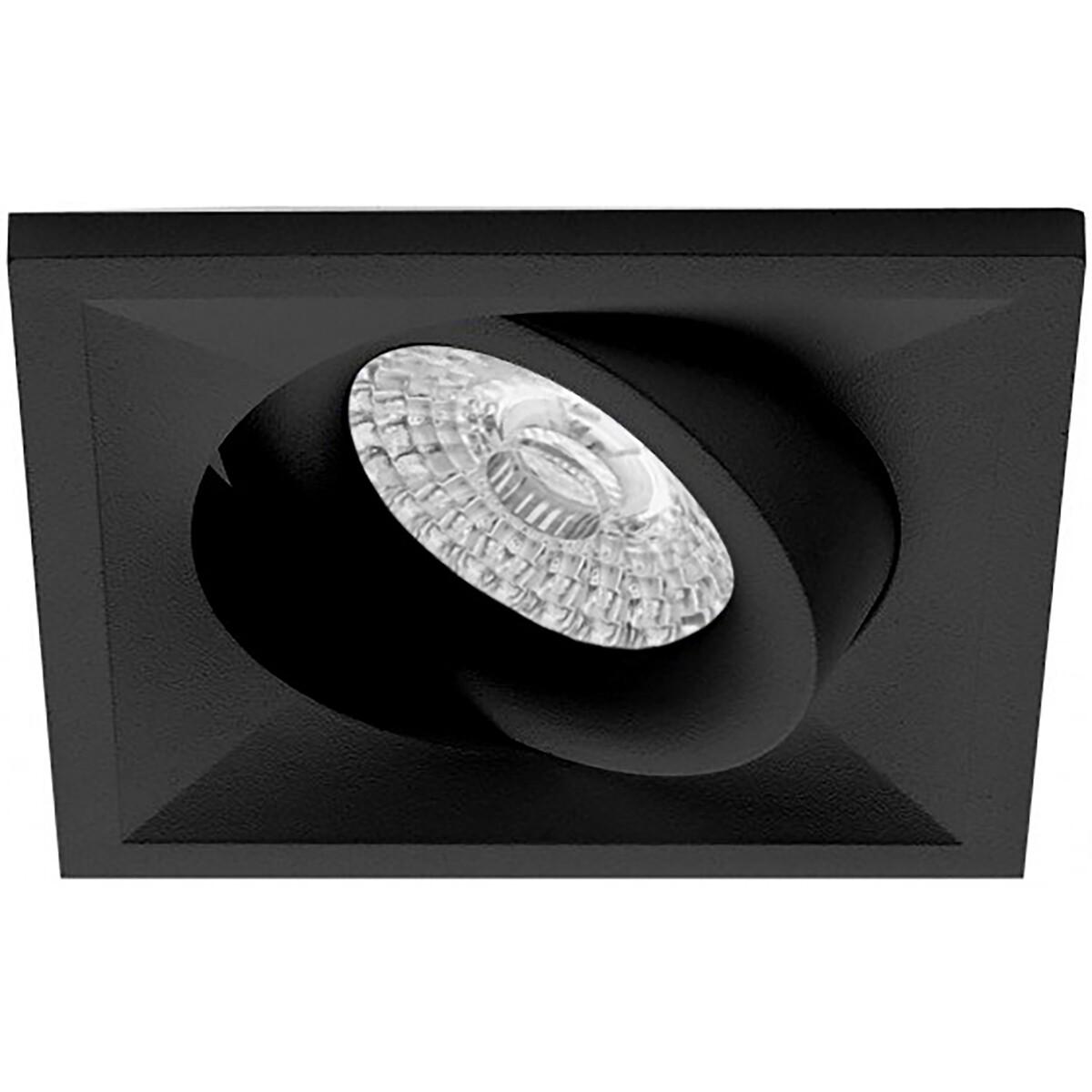 Spot Armatuur GU10 - Pragmi Qiundo Pro - Inbouw Vierkant - Mat Zwart - Aluminium - Kantelbaar - 80mm