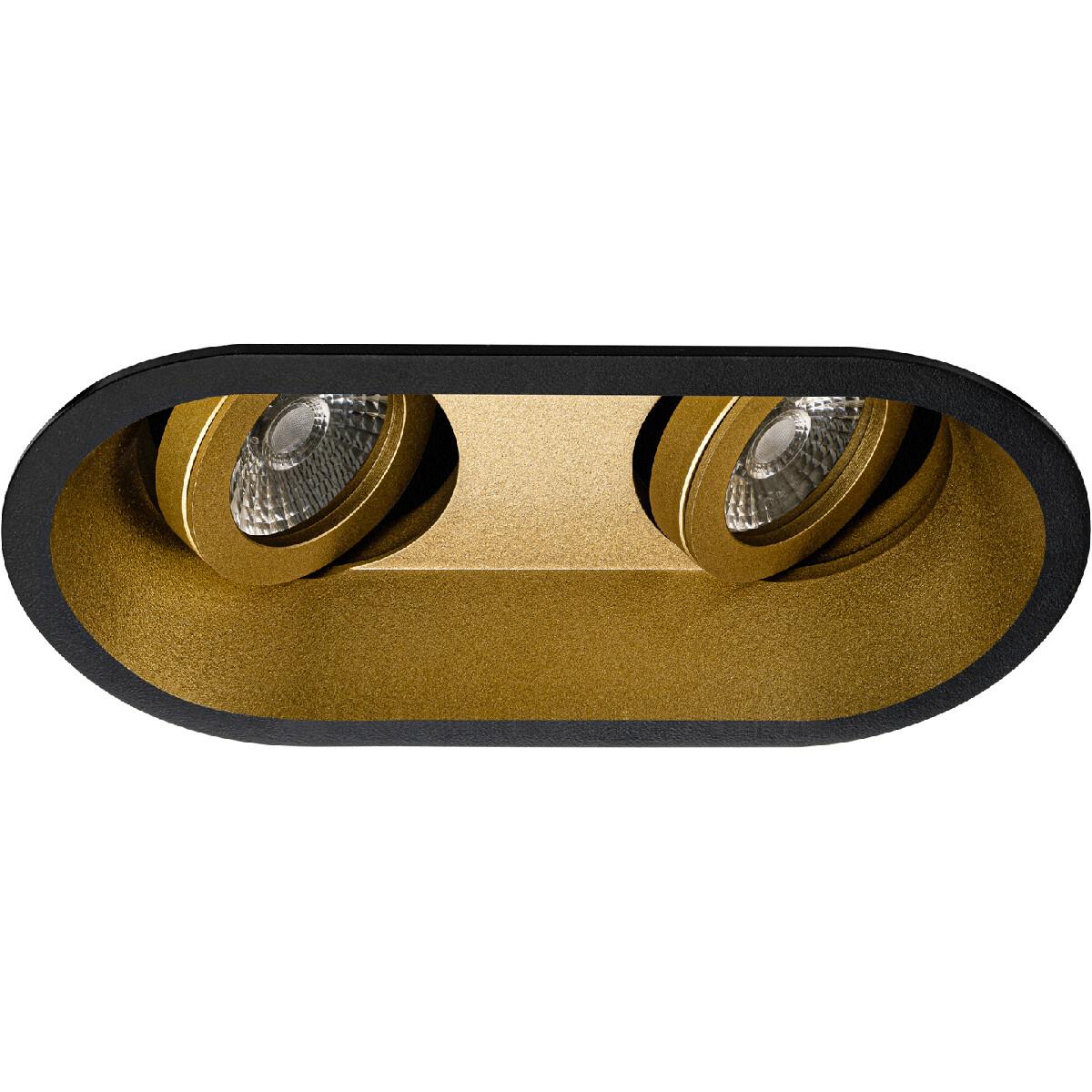 Spot Armatuur GU10 - Pragmi Zano Pro - Inbouw Ovaal Dubbel - Mat Zwart/Goud - Aluminium - Kantelbaar