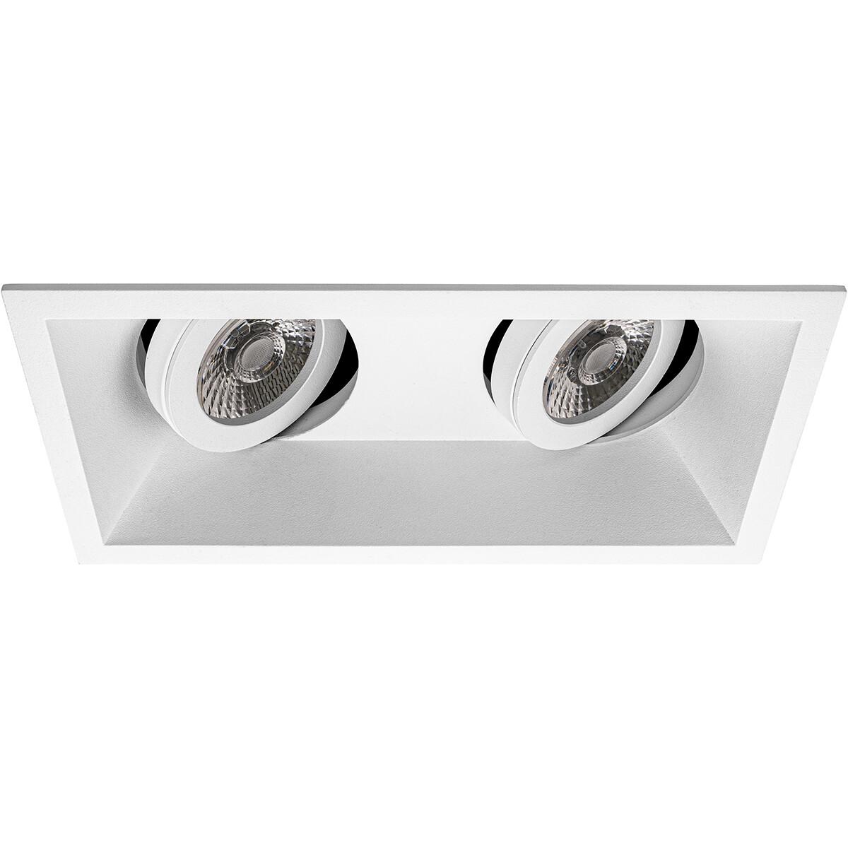 Spot Armatuur GU10 - Pragmi Zano Pro - Inbouw Rechthoek Dubbel - Mat Wit - Aluminium - Kantelbaar -