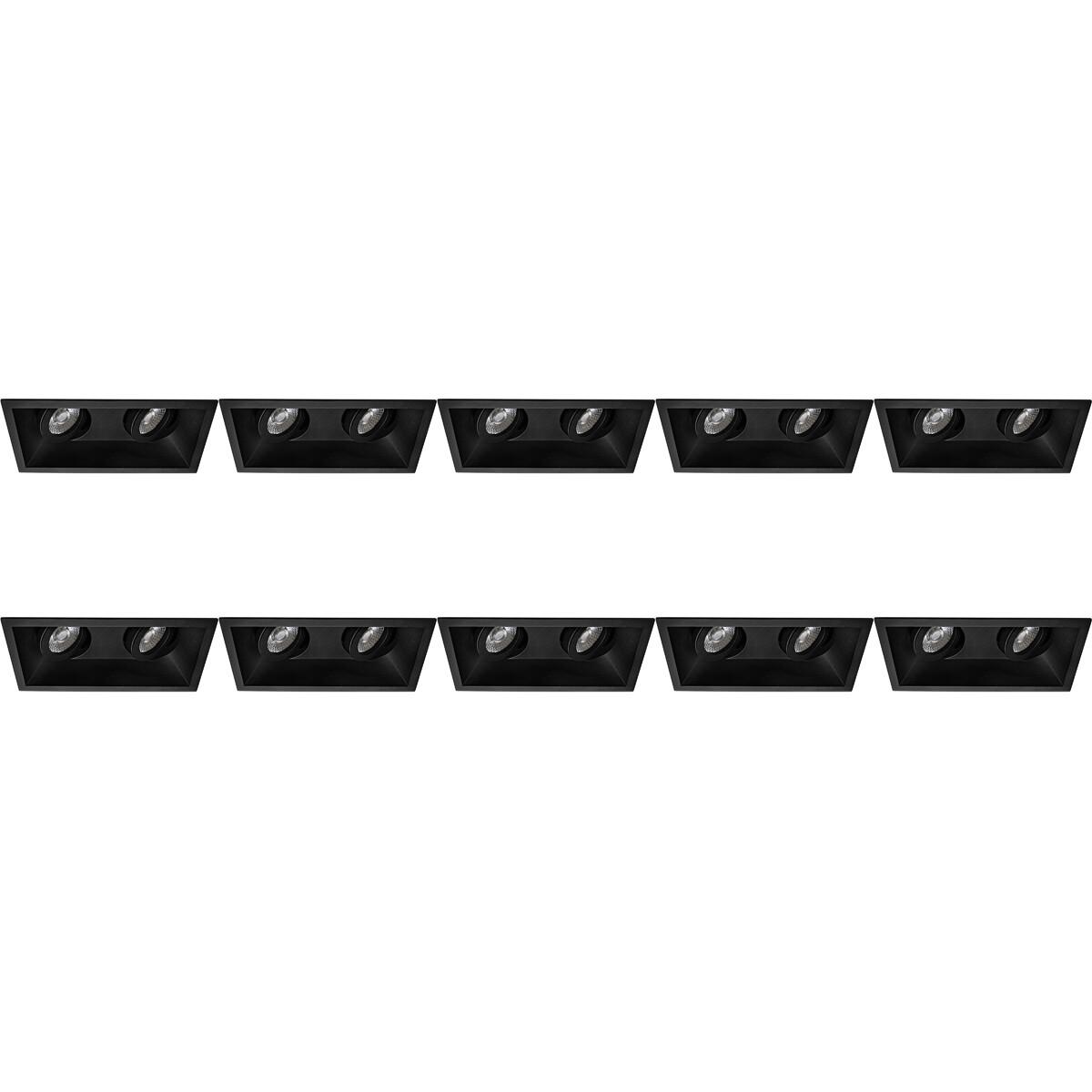 Spot Armatuur 10 Pack - Pragmi Zano Pro - GU10 Fitting - Inbouw Rechthoek Dubbel - Mat Zwart - Alumi