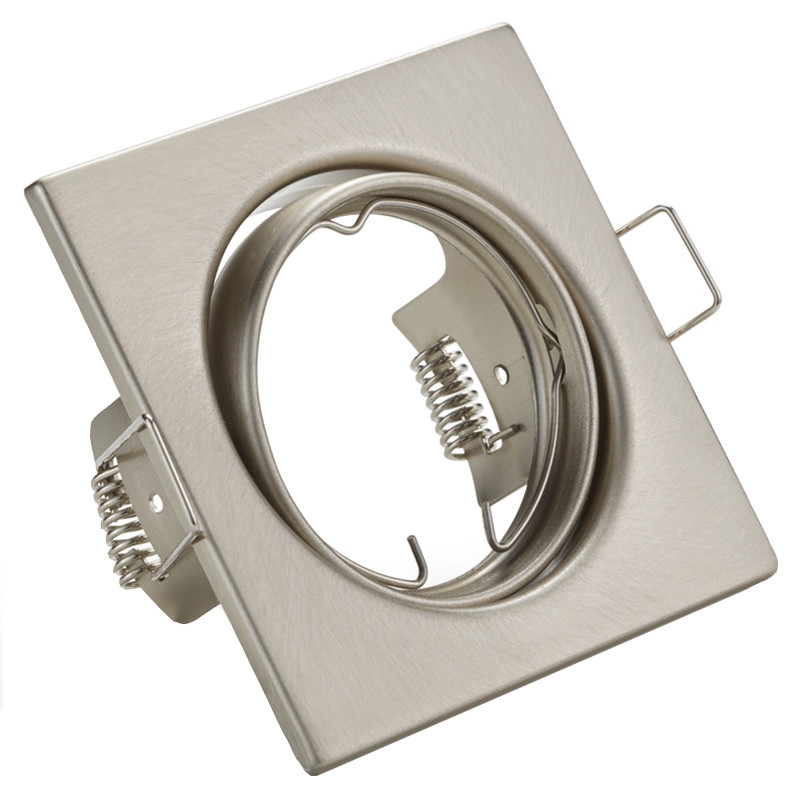 Spot Armatuur GU10 - Trion - Inbouw Vierkant - Mat Nikkel Aluminium - Kantelbaar 80mm