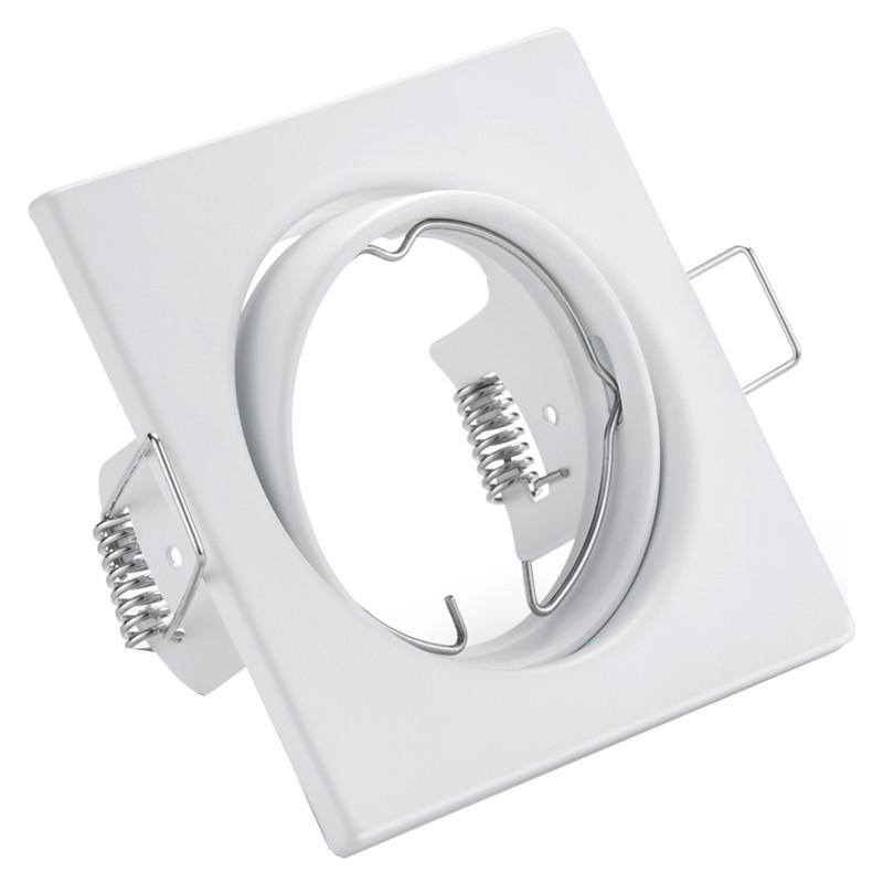 Spot Armatuur GU10 - Trion - Inbouw Vierkant - Mat Wit Aluminium - Kantelbaar 80mm