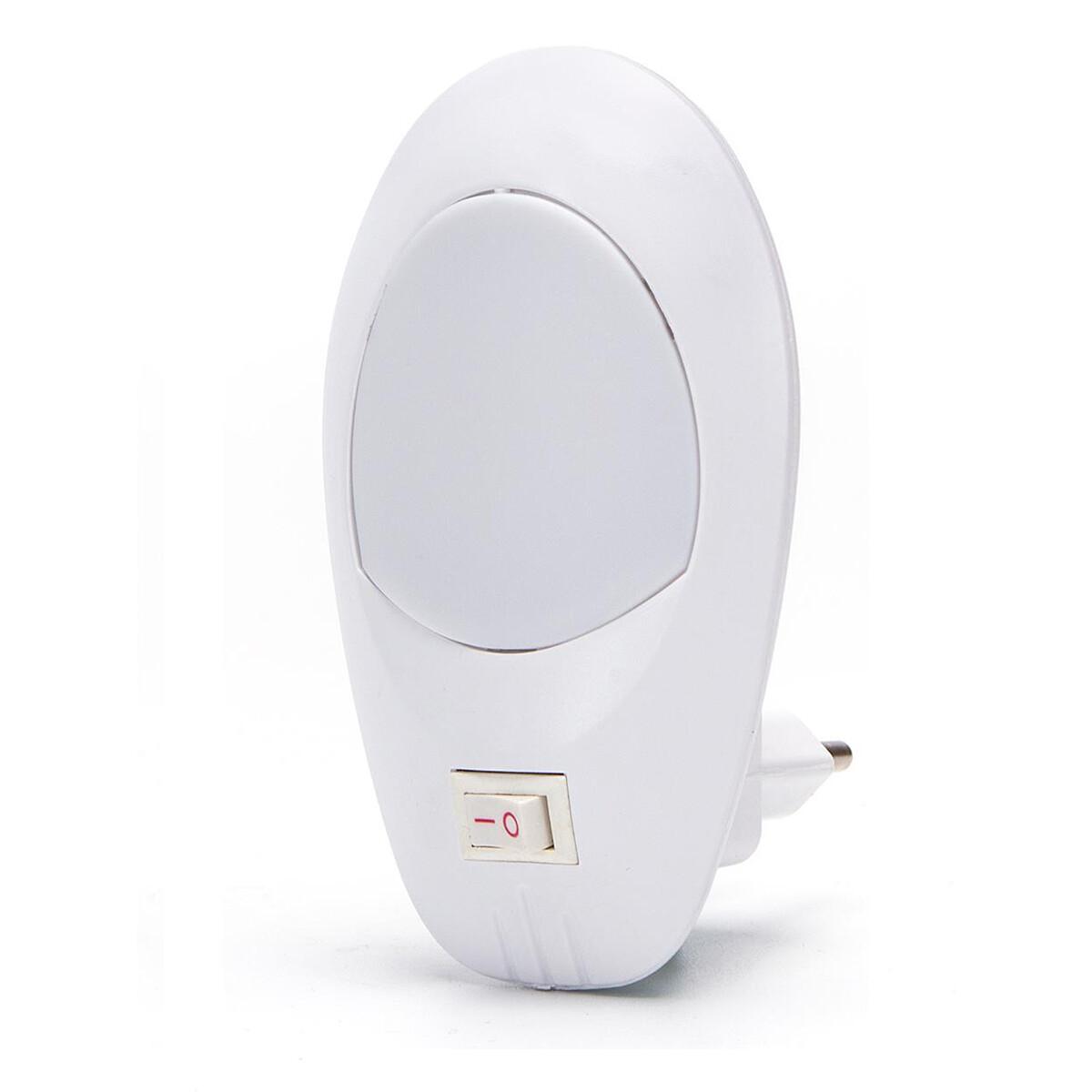 Stekkerlamp Lamp - Stekkerspot met Aan/Uit Schakelaar - Aigi Woest XL - 1W - Helder/Koud Wit 6500K -