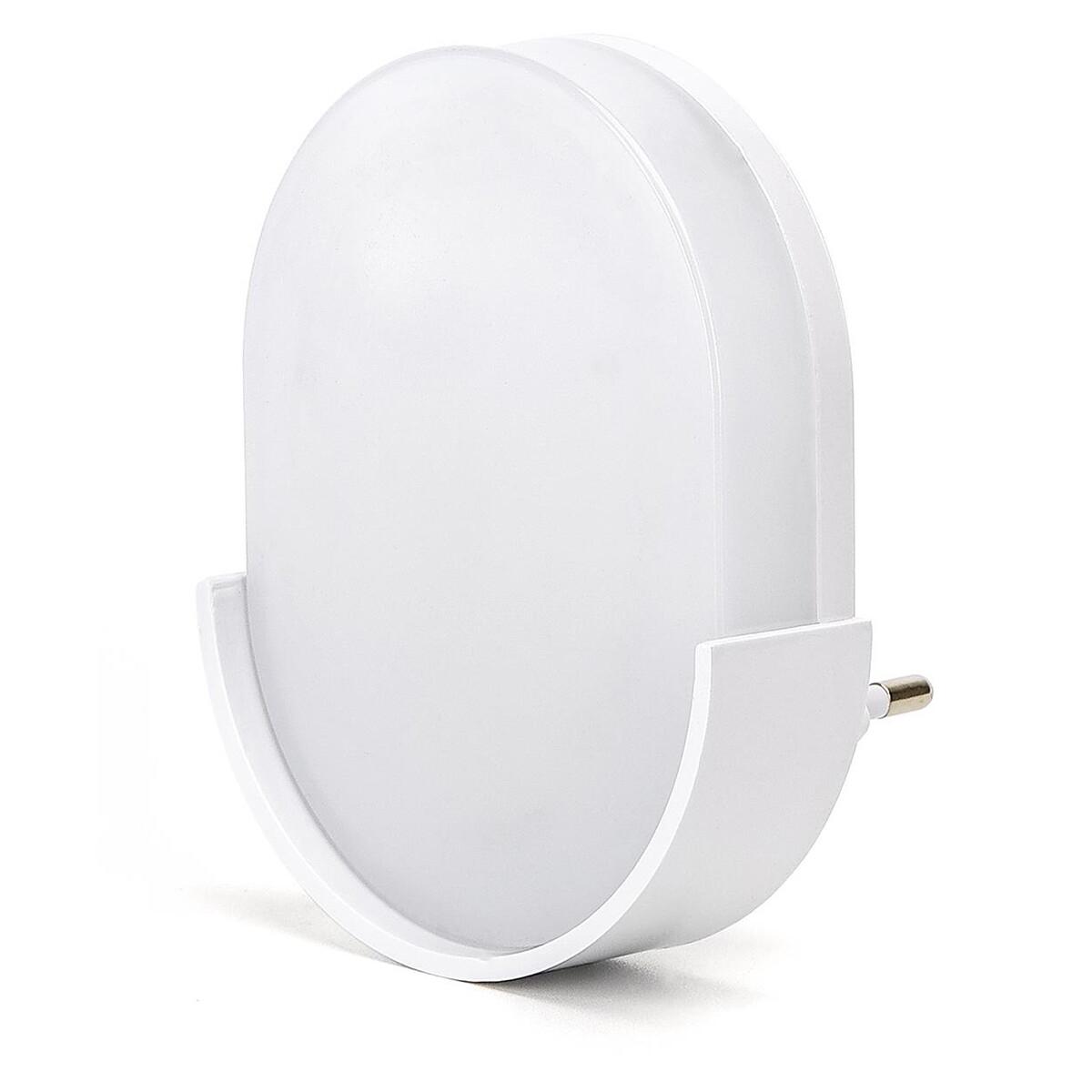 Stekkerlamp Lamp - Stekkerspot met Dag en Nacht Sensor - Aigi Sipas - 1W - Helder/Koud Wit 6500K - O