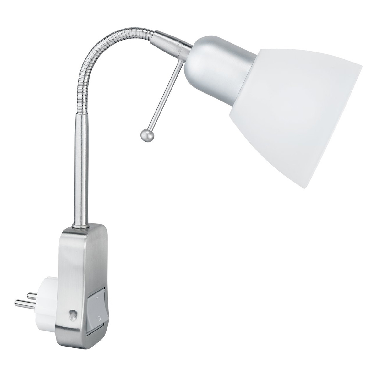 Stopcontact Lamp met Schakelaar - Trion - Rond - Mat Chroom - Aluminium - E14 - Stekkerlamp - Stekke