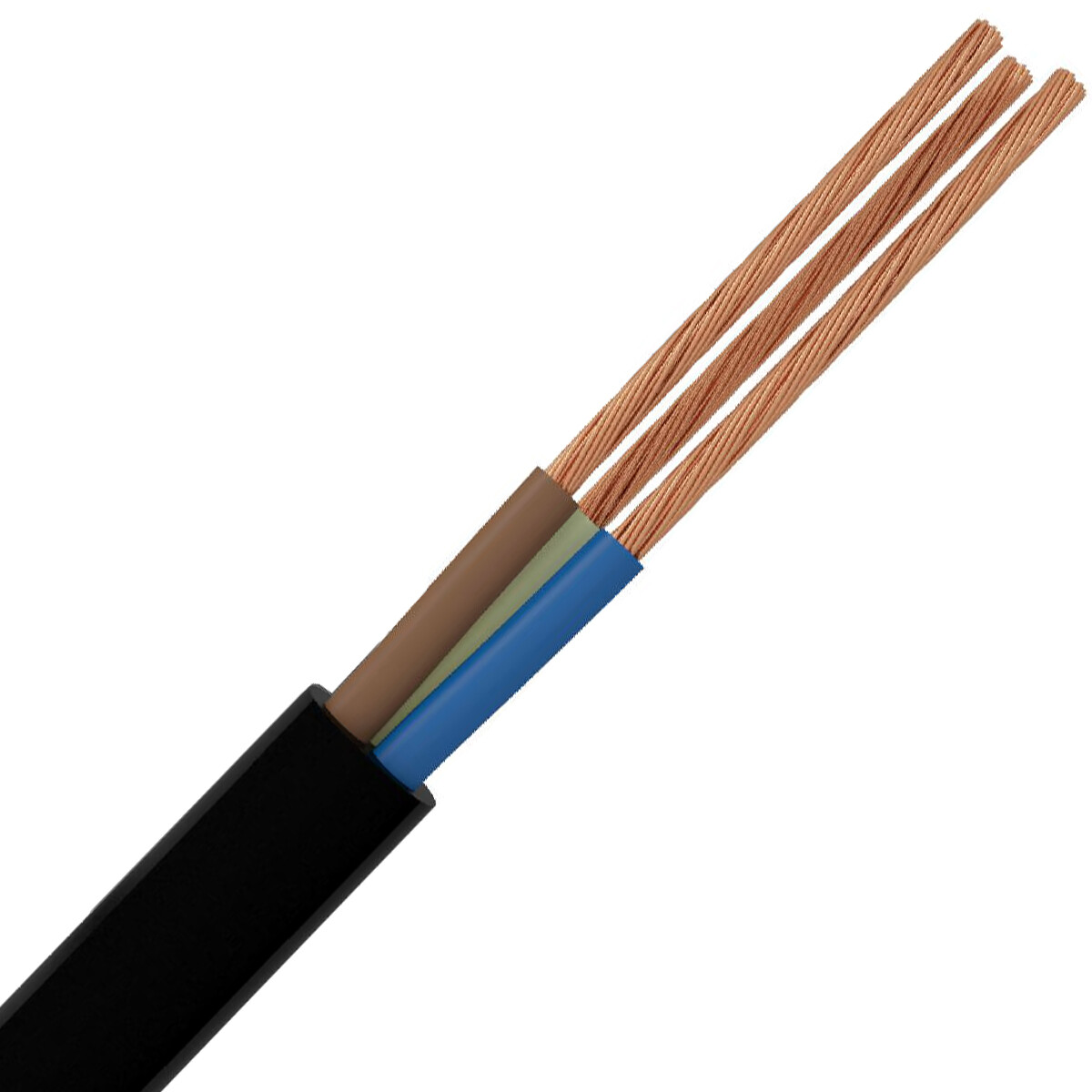 Stroomkabel - 3x2.5mm - 3 Aderig - 1 Meter - Zwart