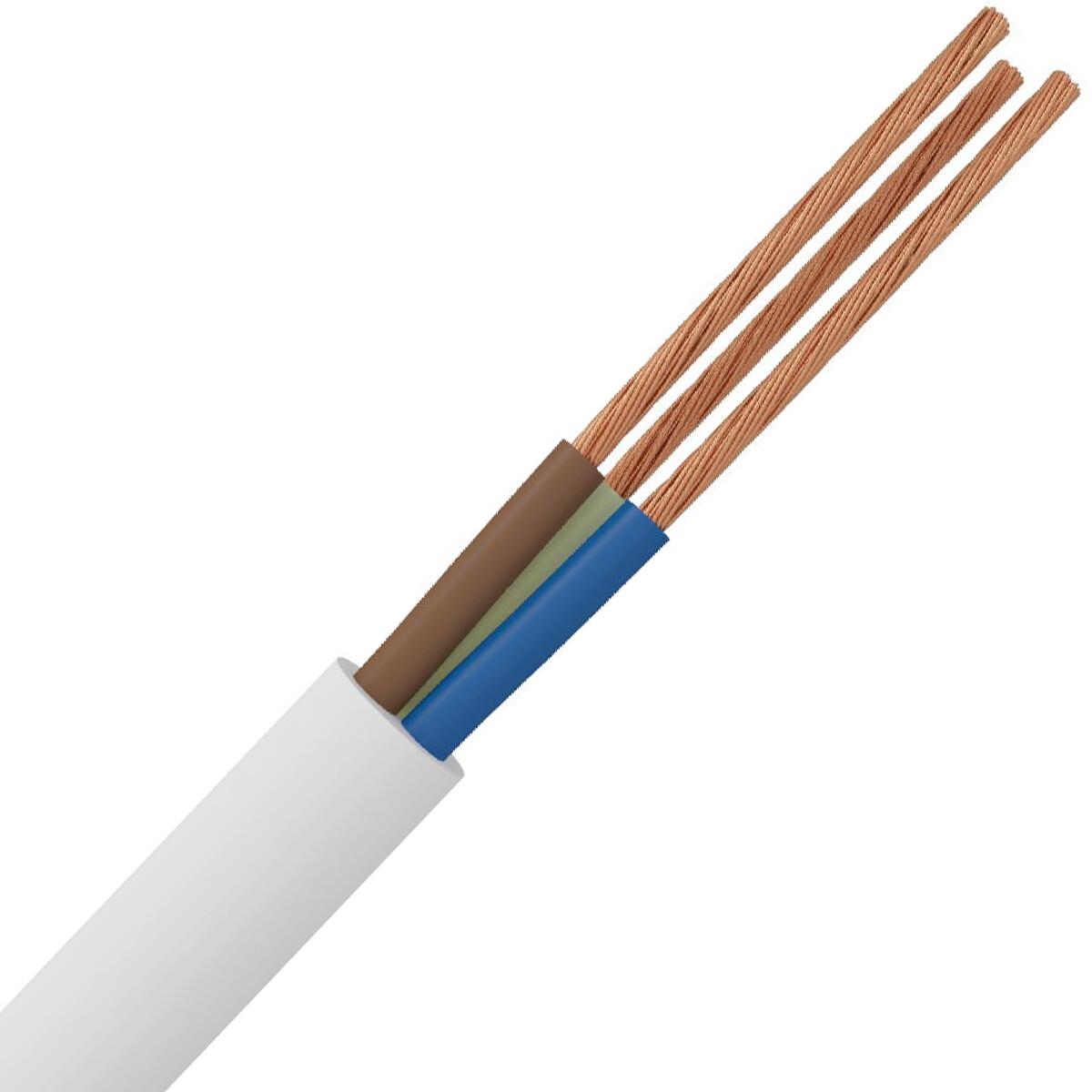 Stroomkabel - 3x1.5mm - 3 Aderig - 1 Meter - Wit