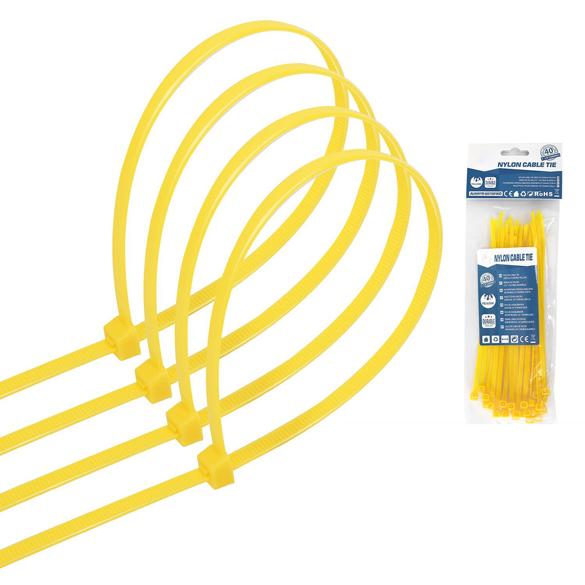 Tie Wraps - Tyrap - Aigi Tie - 3.6x150mm - Geel - 40 Stuks