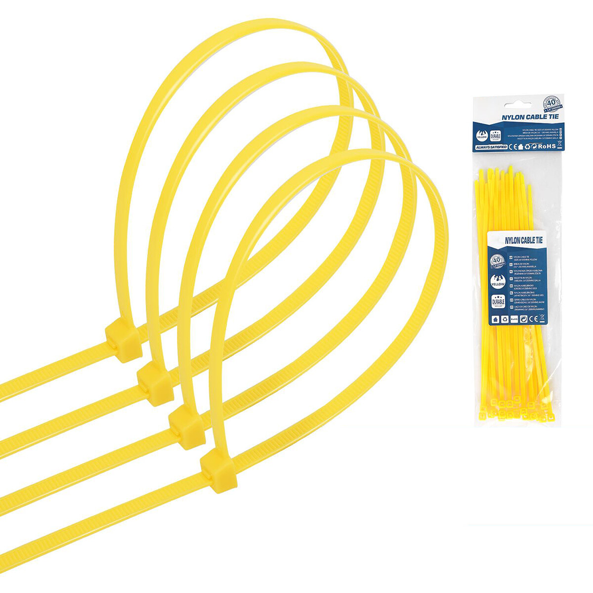 Tie Wraps - Tyrap - Aigi Tie - 3.6x200mm - Geel - 40 Stuks
