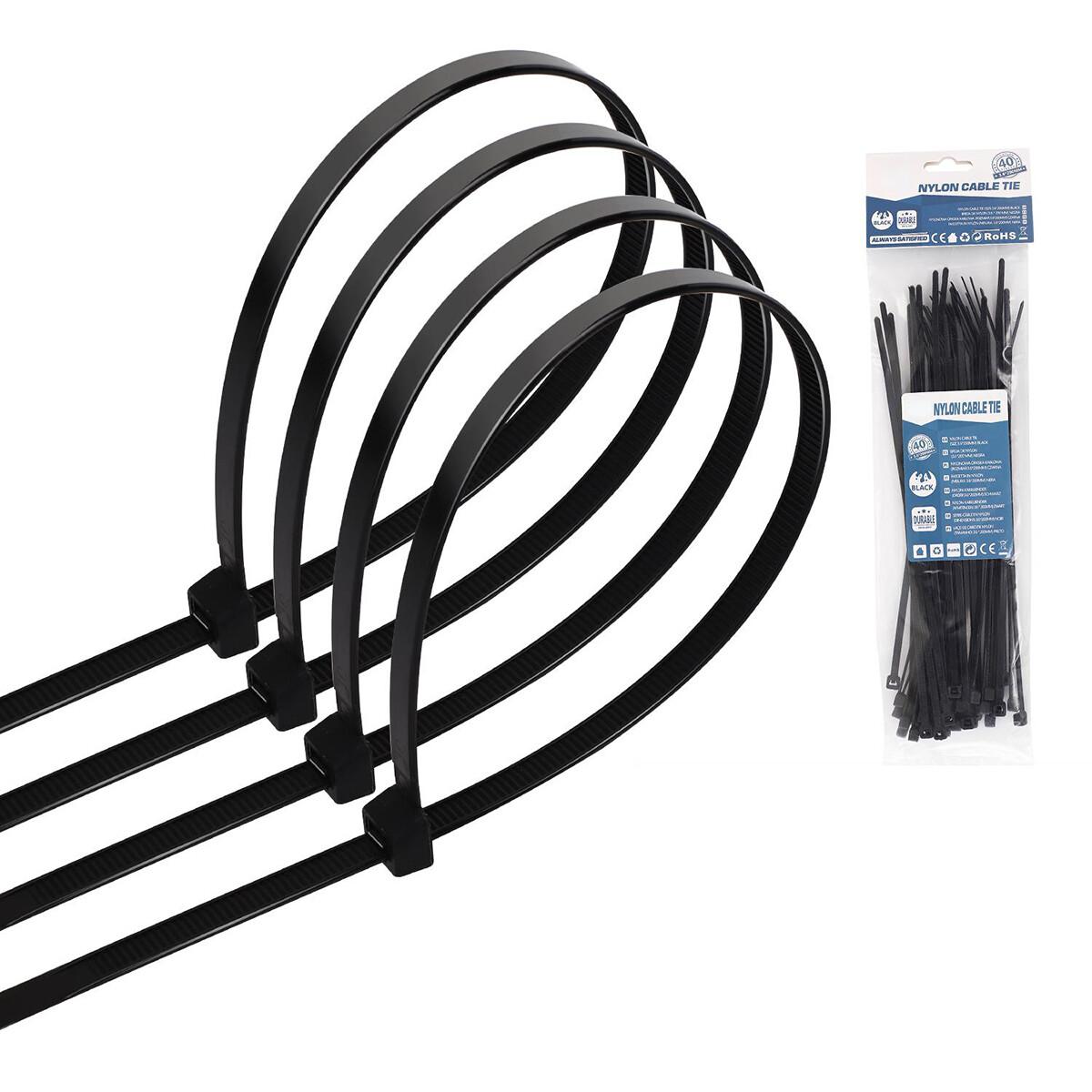 Tie Wraps - Tyrap - Aigi Tie - 3.6x200mm - Zwart - 40 Stuks