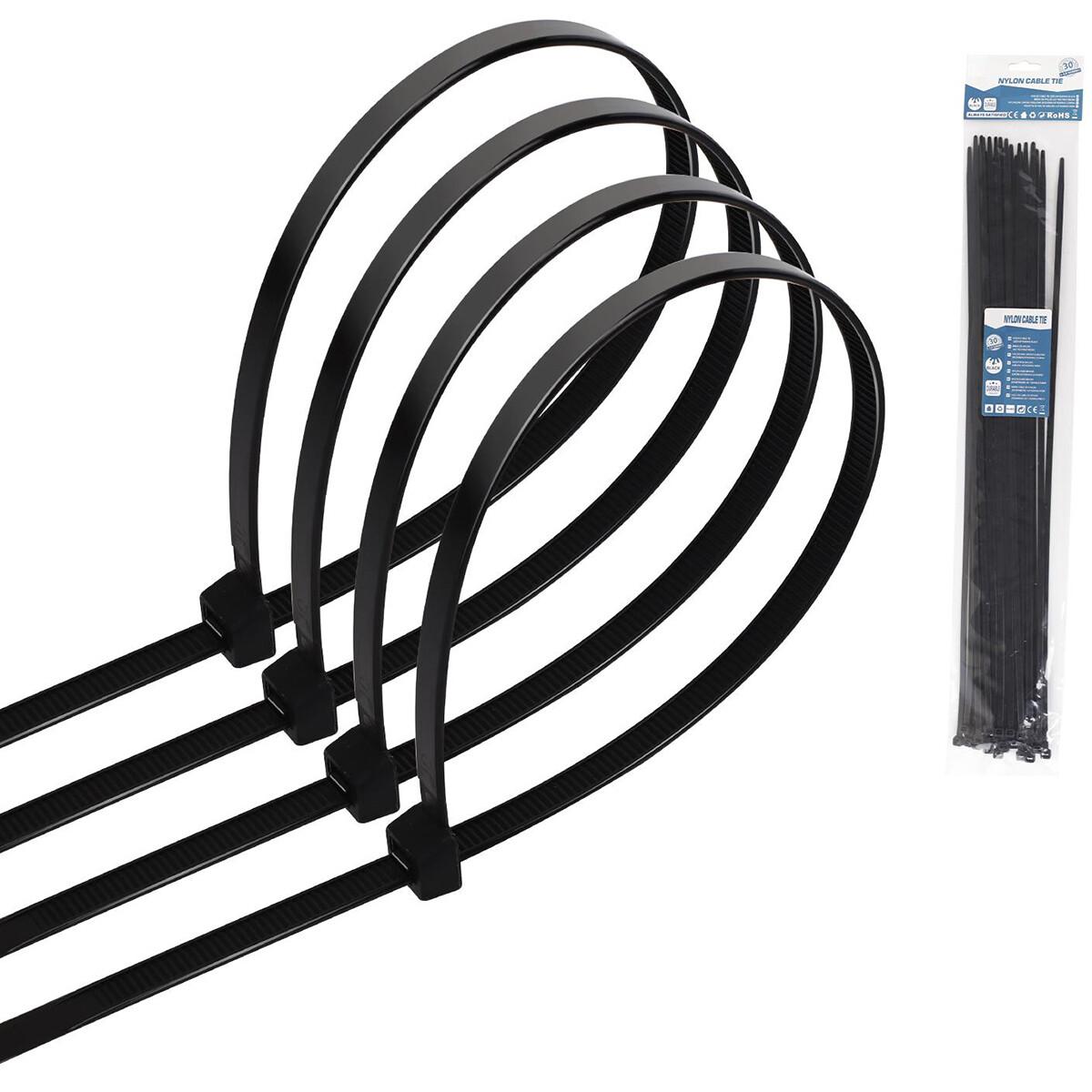 Tie Wraps - Tyrap - Aigi Tie - 7.2x350mm - Zwart - 20 Stuks