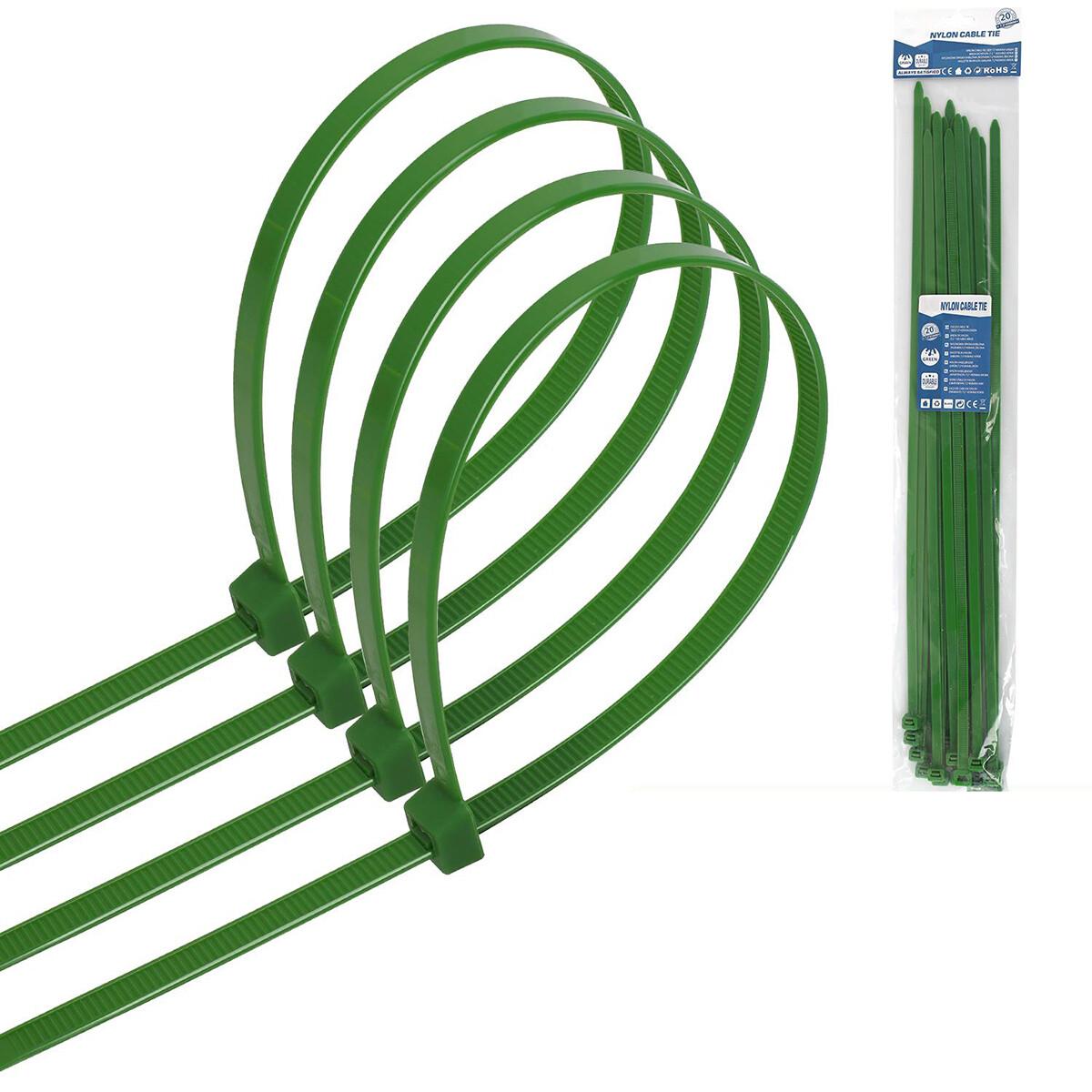 Tie Wraps - Tyrap - Aigi Tie - 7.2x450mm - Groen - 20 Stuks