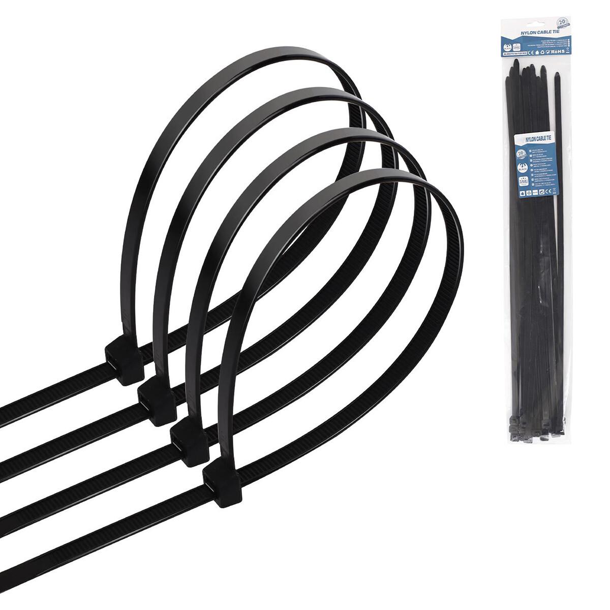 Tie Wraps - Tyrap - Aigi Tie - 7.2x450mm - Zwart - 20 Stuks