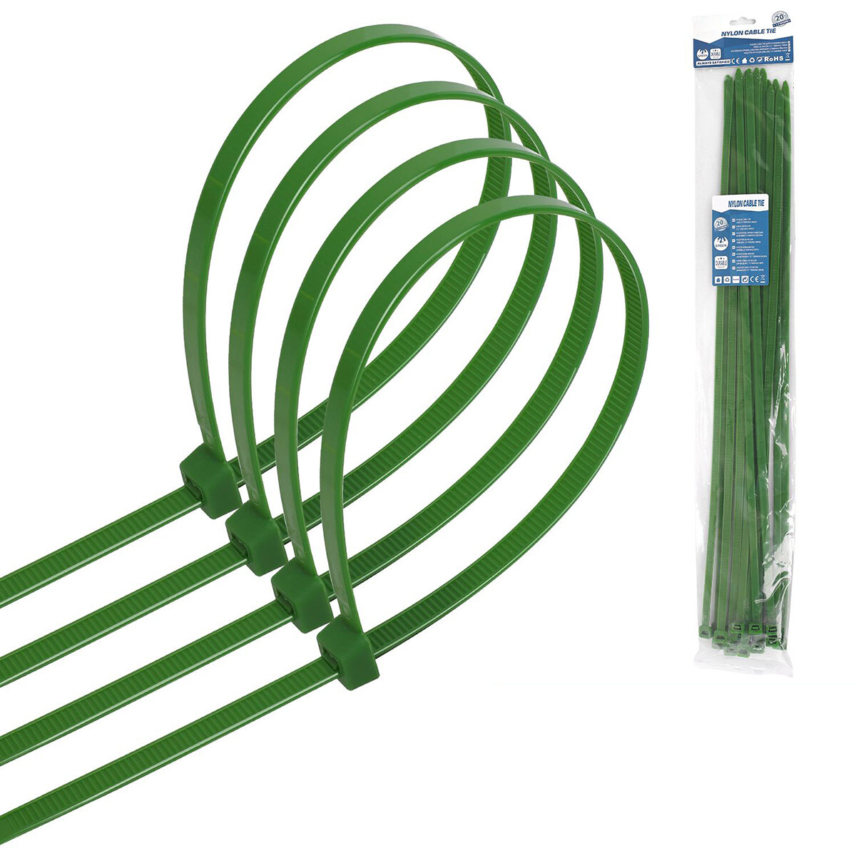 Tie Wraps - Tyrap - Aigi Tie - 7.2x500mm - Groen - 20 Stuks