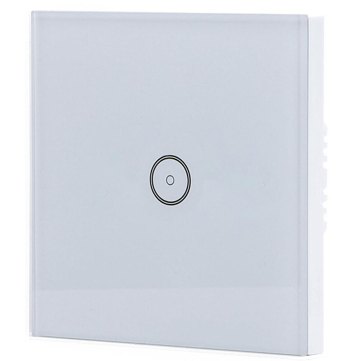 Touchschakelaar Smart WiFi Aigi Smarton Inbouw 1-voudig Touch Schakelaar Incl. Glazen Afdekraam Wit