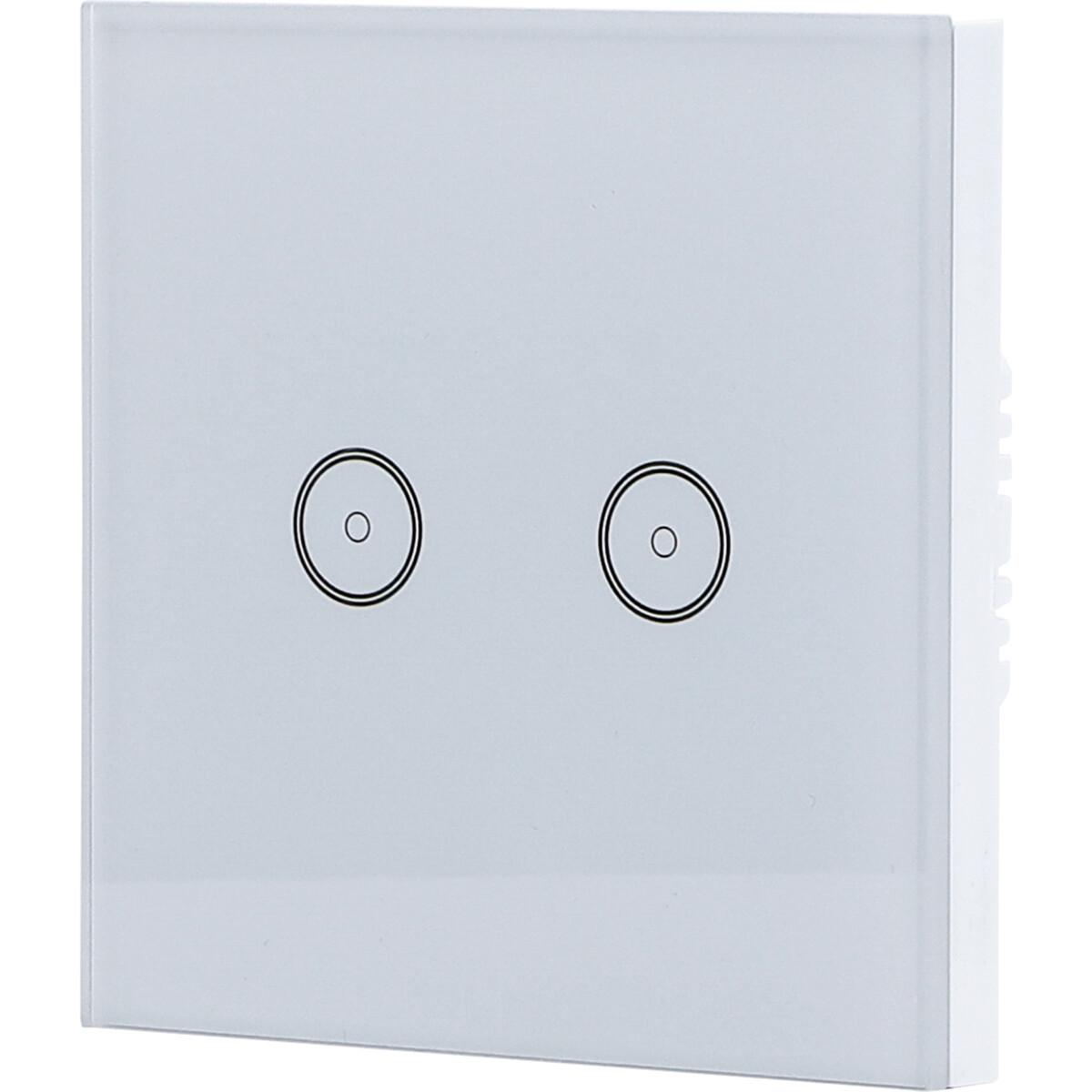 Touchschakelaar Smart WiFi Aigi Smarton Inbouw 2-voudig Touch Schakelaar Incl. Glazen Afdekraam Wit