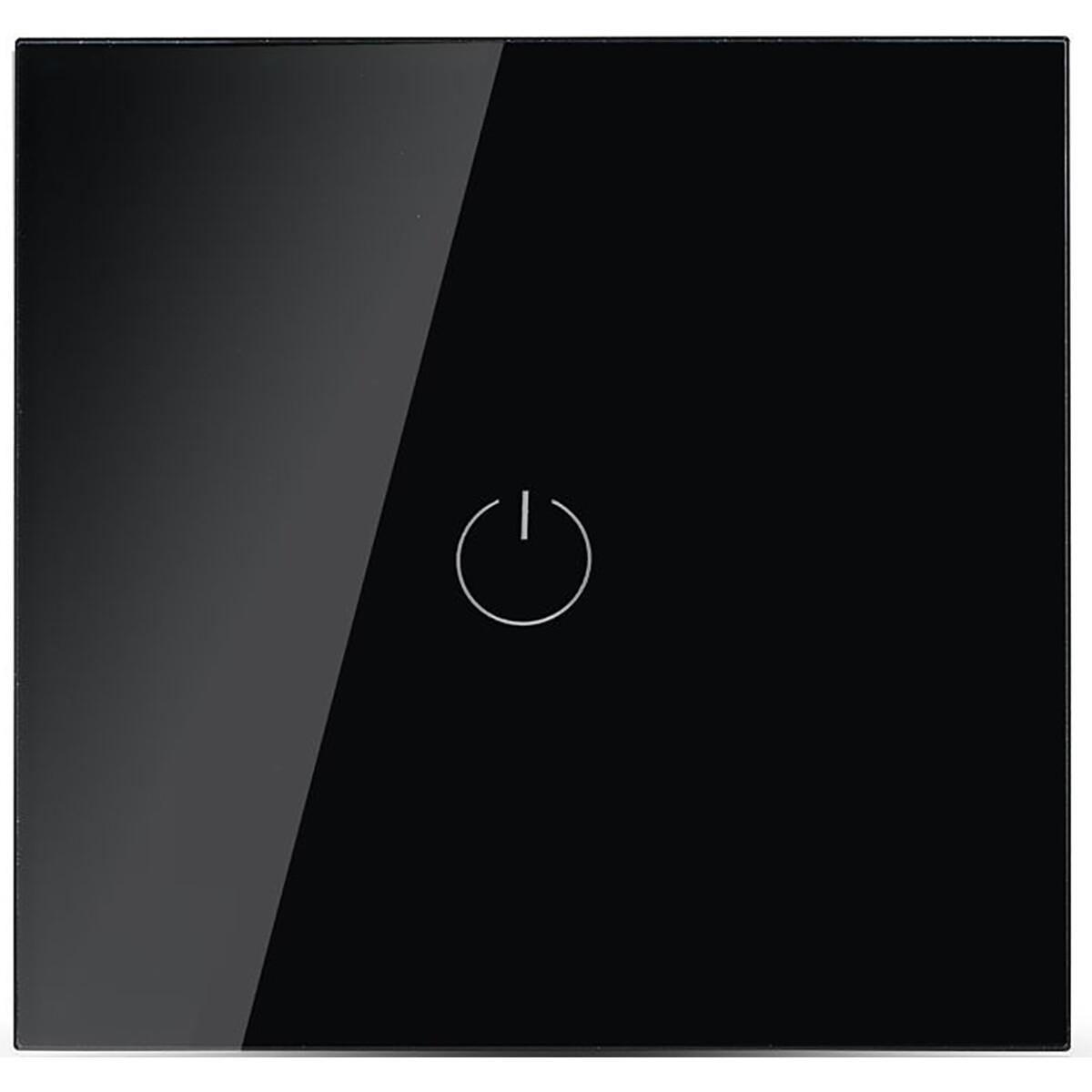 Touchschakelaar Smart WiFi Viron Woma Inbouw 1-voudig Touch Schakelaar Incl. Glazen Afdekraam Zwart