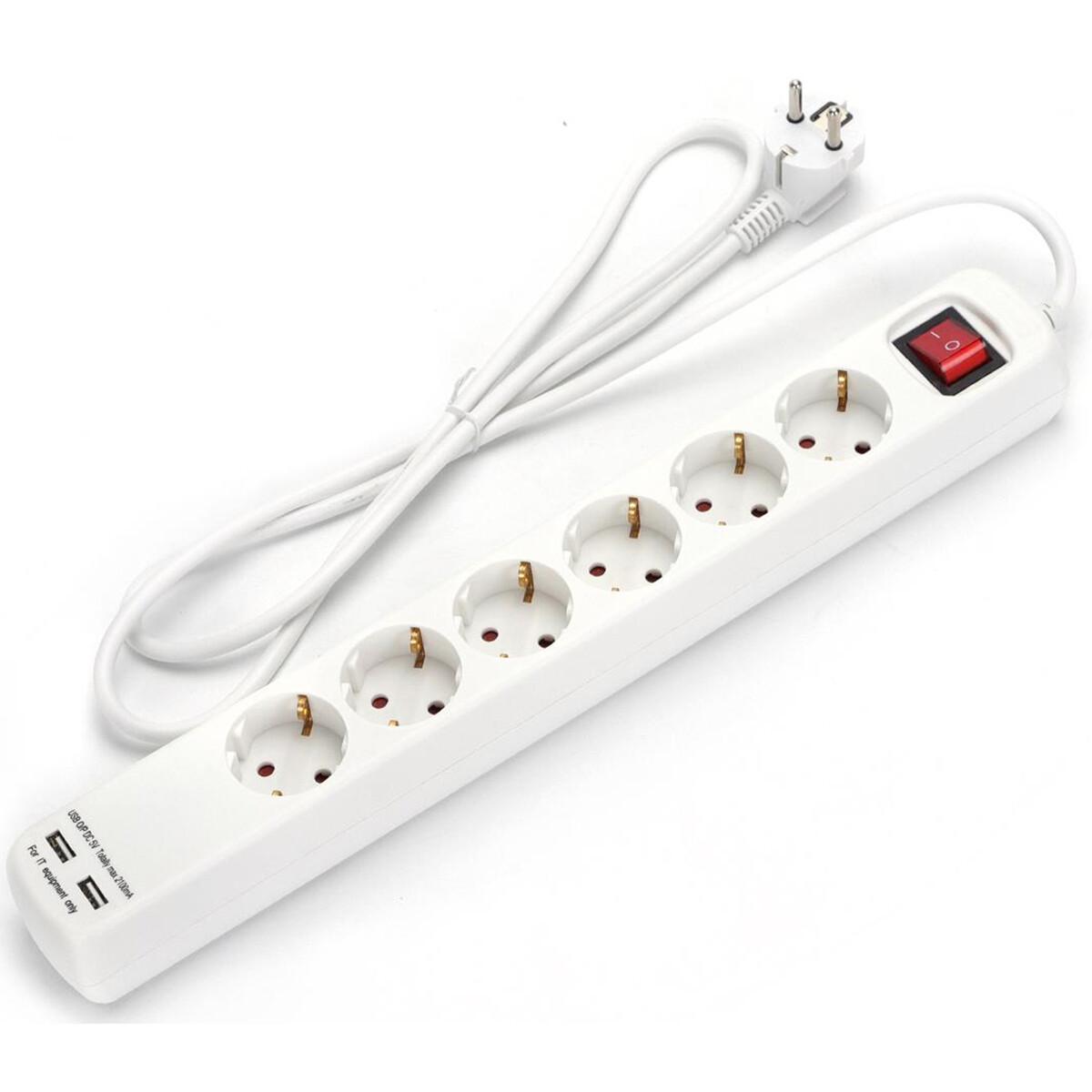 Verlengsnoer met Schakelaar Incl. USB - Aigi Tranko - 3680W - 6 Stopcontacten - 1.5 Meter - Wit   Ne