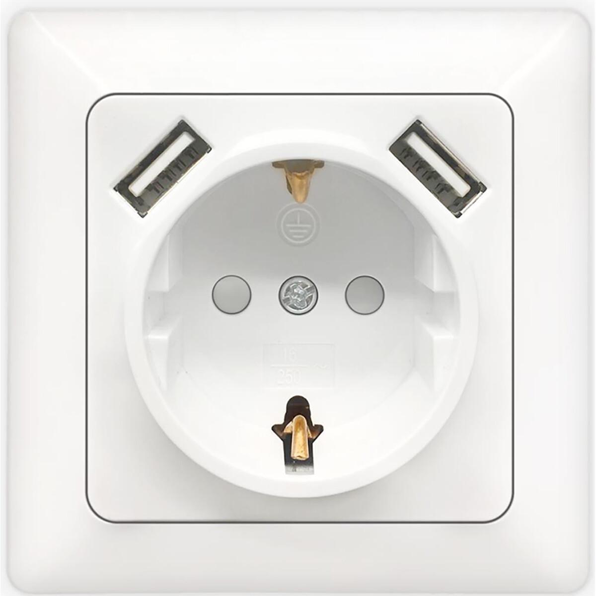 Wandcontactdoos - Aigi Cika - Inbouw - 1-voudig Stopcontact - 2-voudig USB Aansluiting - Randaarde -