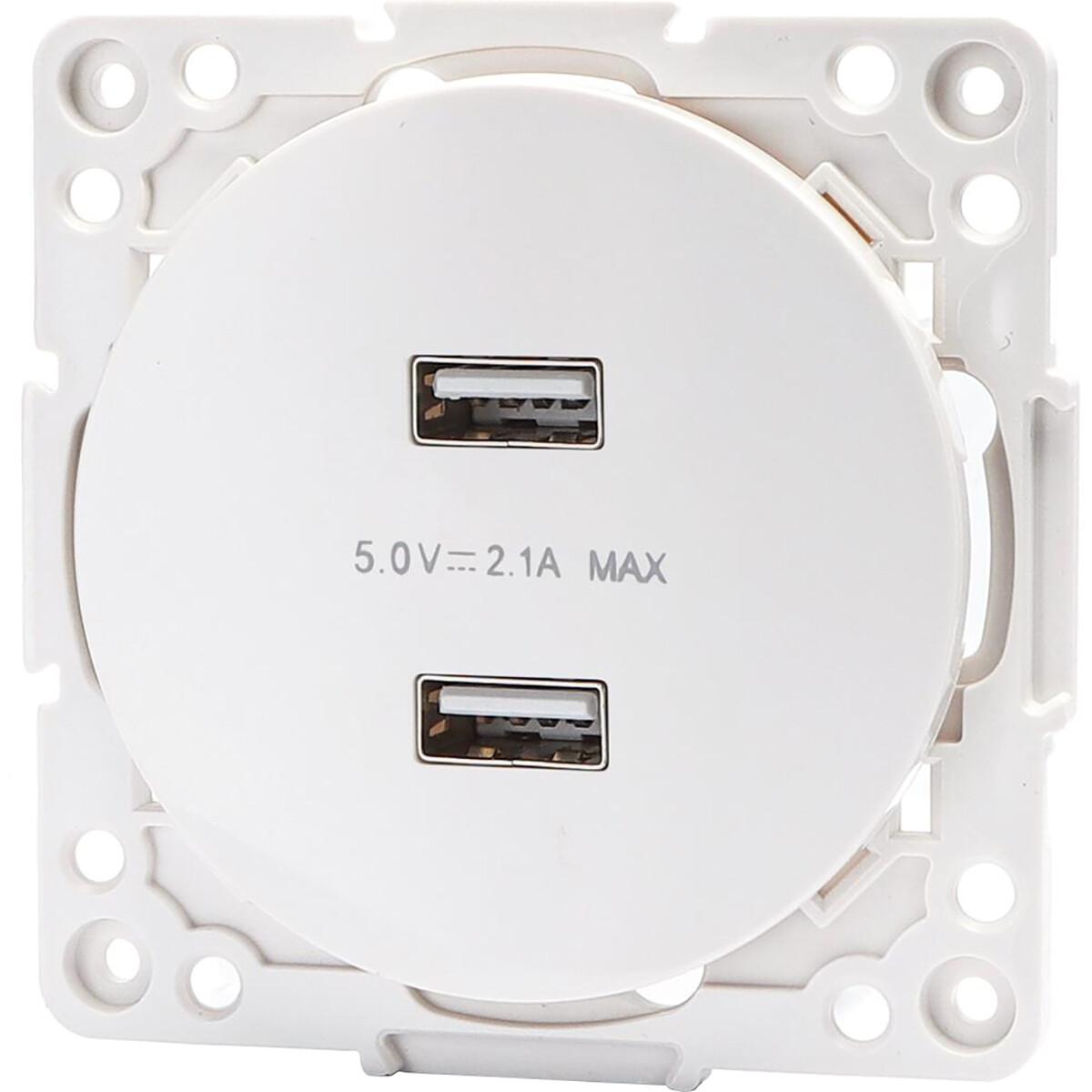 Wandcontactdoos - Aigi Jura - Inbouw - Rond - Kunststof - 2-voudig USB Aansluiting - Wit